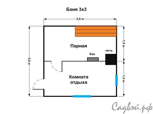 Строим баню 3х3